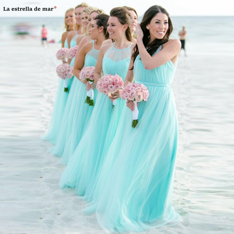 Robe demoiselle d'honneur new tulle Halter ALine turquoise   bridesmaid     dress   long wedding party   dress   cheap