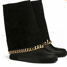 Casad Genuine Leather Boots shoes chain Wedges suede Boots Women Height Increasing Platform Knee high Boot winter autumn