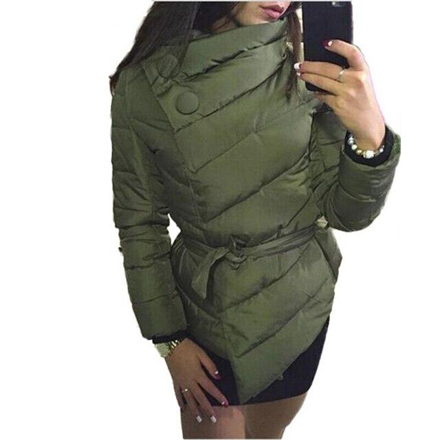 OLGITUM 2017 N mulheres jaqueta de inverno pato para baixo casaco de gola alta com cinto casacos casacos parkas para as mulheres inverno 4 cores quentes