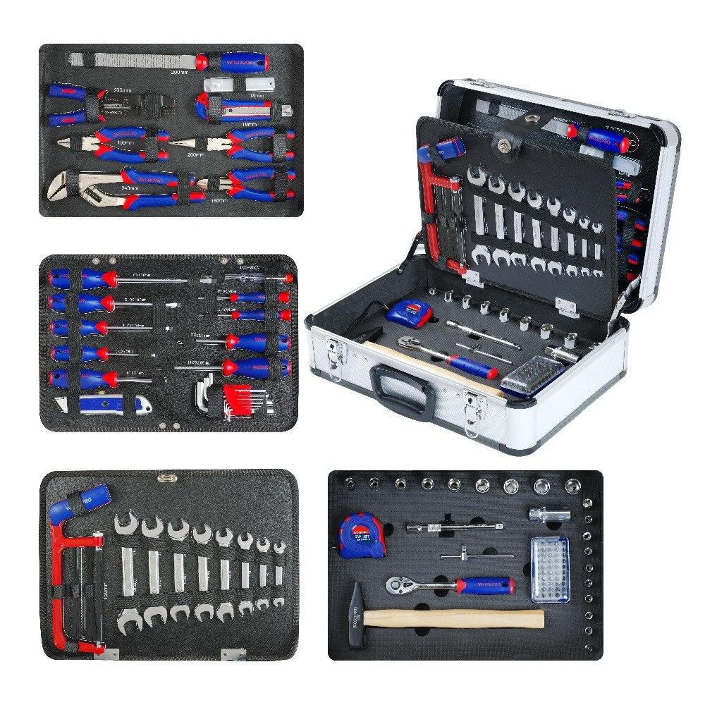 WORKPRO 119PC Aluminium Tool box Set Haushalt Werkzeug Set Handwerkzeuge Schraubendreher-satz Schraubenschlüssel Zangen