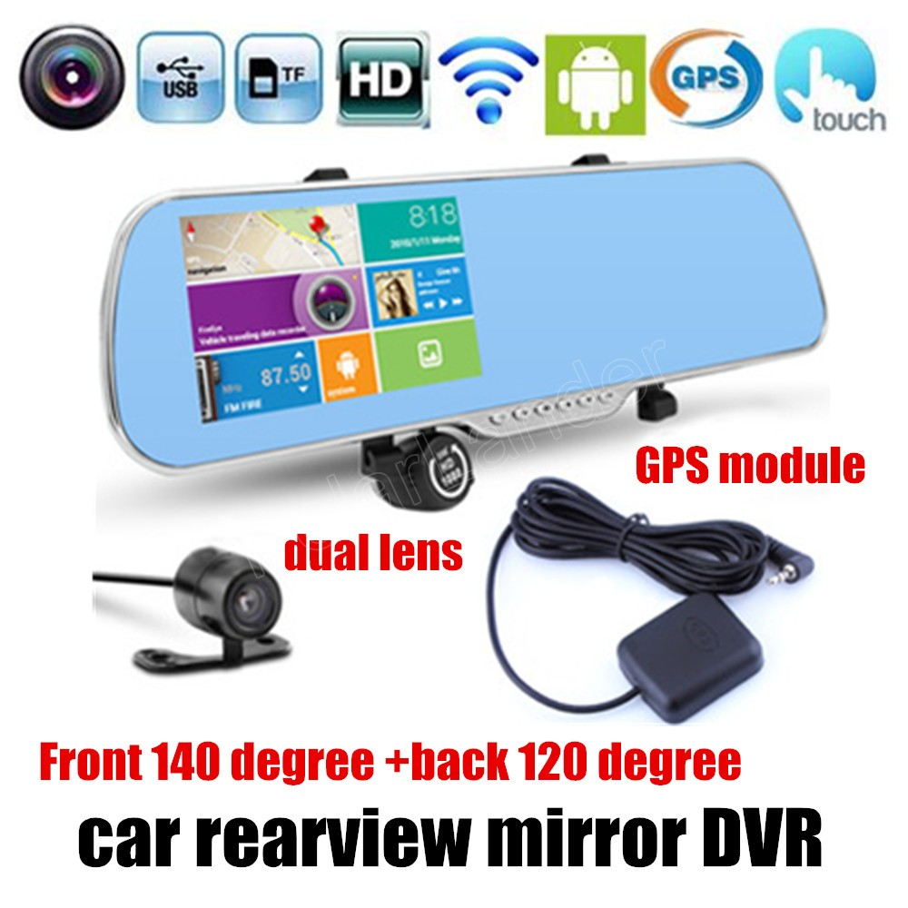 for android WIFI GPS navigation GPS module touch screen 5 Inch Car DVR Camera Rearview Mirror Digital Video Recorder Dual Lens hot sale android 5 0 car dvr wireless 3g wcdma b1 2100 dual lens camera rearview mirror gps navigation 7 0 ips touch screen