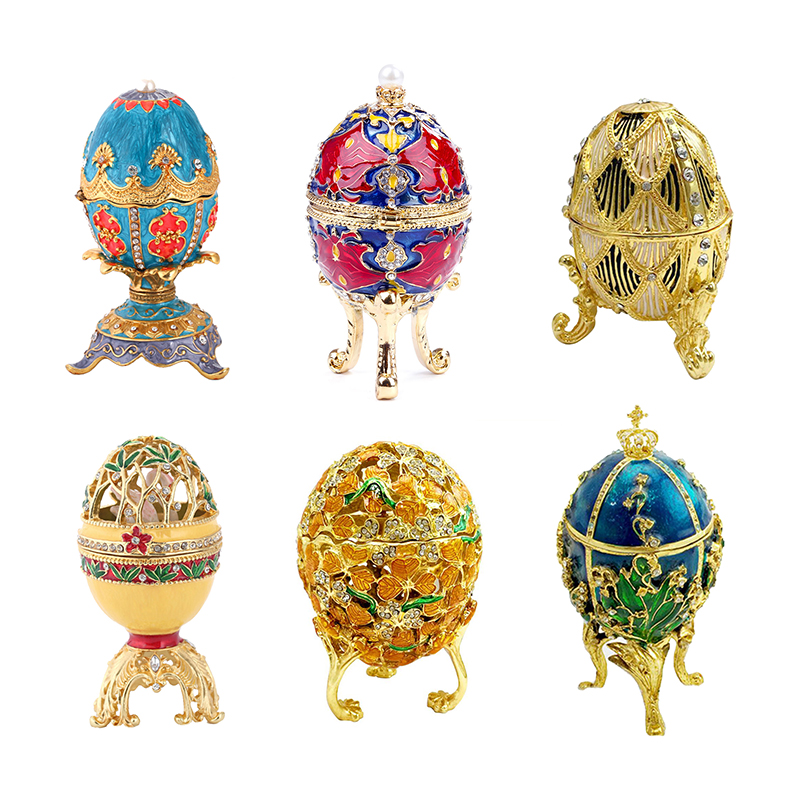 New Arrive Hand Painted Easter Egg Faberge Egg Rhinestones Jewelry Trinket Box Decor Home Decoration Accessories Dropshipping