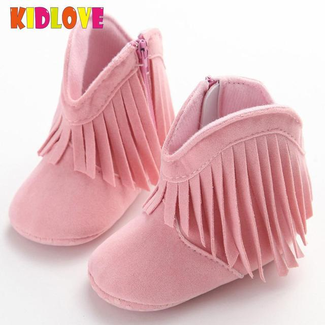 44679eb17df Kidlove Baby suede Autumn Tassel Shoes Cute Infant Baby Boots sticky rubber  Prewalker Girl's Shoes 4 colors 11 13cm SAN0-in Boots from Mother & Kids ...