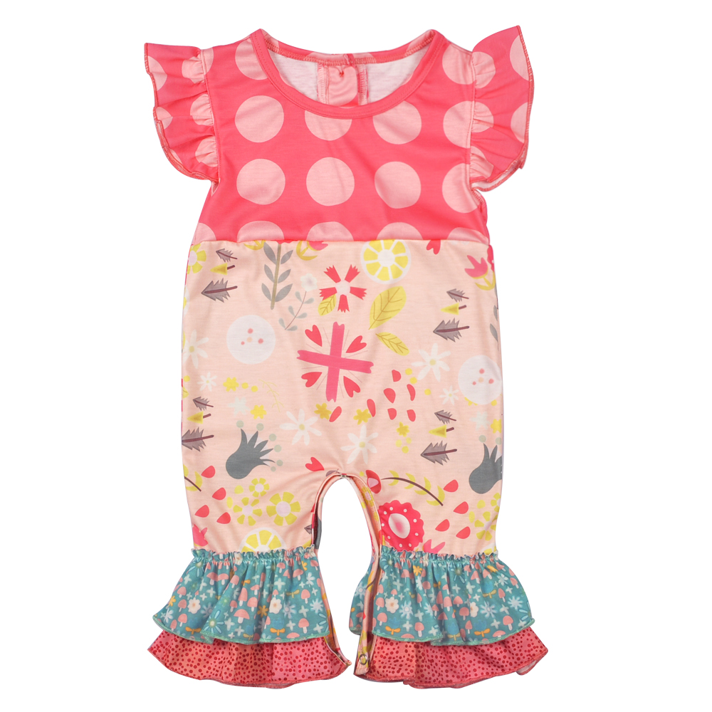 CONICE NINI Toddler Girl Cotton Rompers Newborn kids Summer Girl Fly Sleeve  Cute Polka Dot Flowers Summer Clothes GPF712-040 be673491eda2