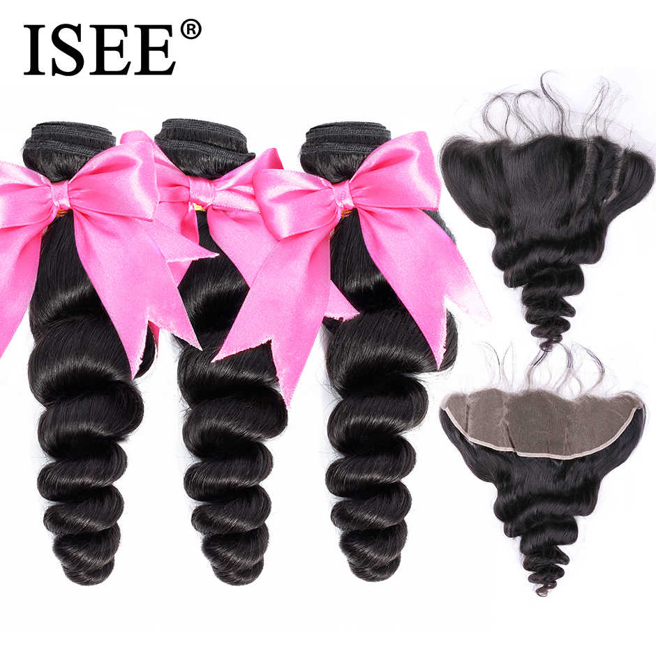 Malaysian Loose Wave Bundles With Frontal Remy Human Hair Bundles With Frontal 13*4 ISEE HAIR Weave Bundles With Closure