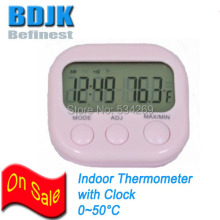 Pink Mini Digital Food Thermometer with Clock and 1.1m External Sensor Wire Temperature Meter