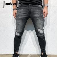 Huation Men Clothes 2018 Hip Hop Ripped Jeans for Men Streetwear Jeans Brand Trousers Mens Patchwork Skinny Denim Pants Dropship
