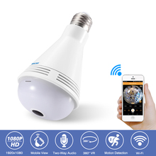 hot deal buy 360 degree panoramic bulb light home cctv security surveillance hd 1080p wireless ip wifi camera night vision bluetooth speaker