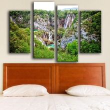 Hot Sale Modern Canvas New Product Print Painting Wall 4pc/set Plitvice Lakes National Park Art Picture For Living Room