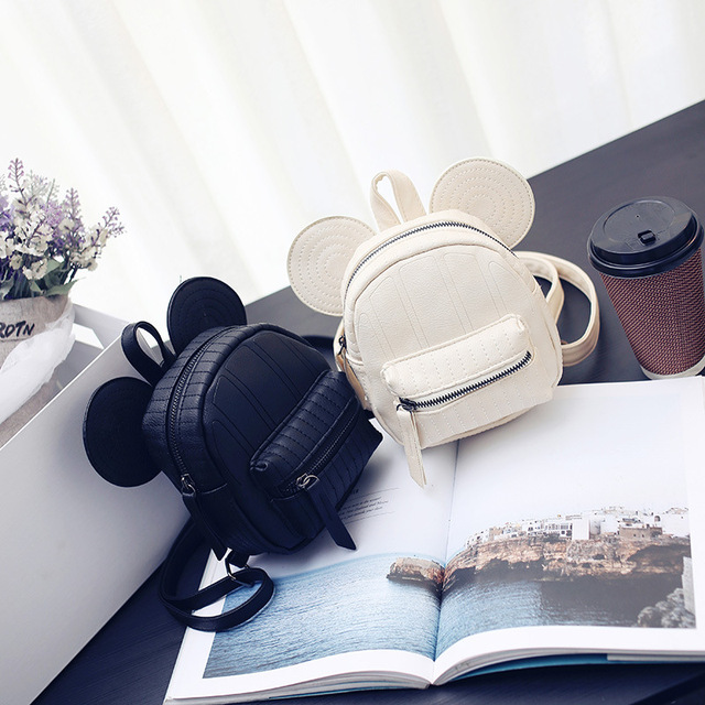 Hot High Quality Women Backpack Designer Black Cartoon Mickey Backpacks With Fur Travel Bag Cute Backpacks For Teenage Girls