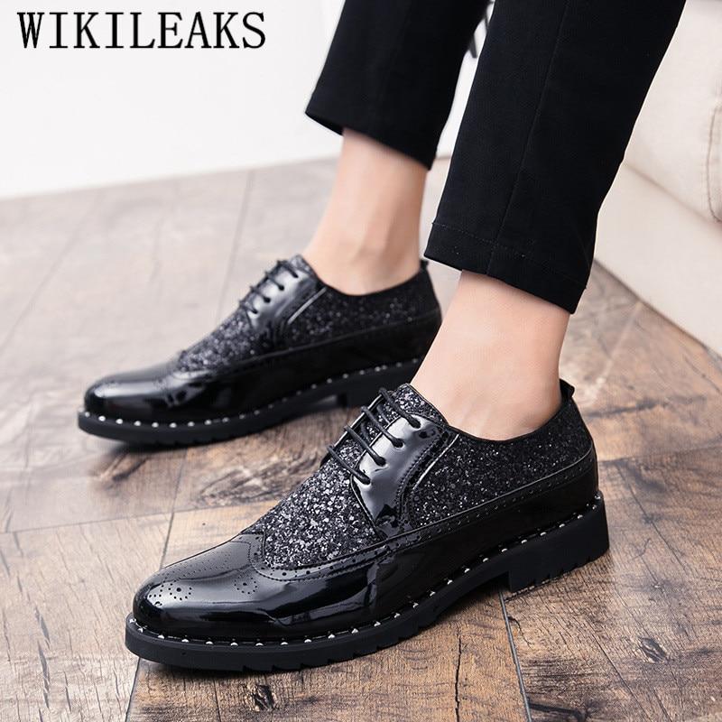 Mode Zapatos Noir Chaussure Homme or Noir Verni Masculine Hommes 2019 Hombre En Chaussures Or Formelle Affaires Sequin Cuir Robe qvzFtZ