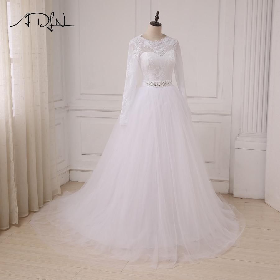ADLN În stoc Rochii ieftine de nuntă albă Aplică Lace Tulle - Rochii de mireasa - Fotografie 4