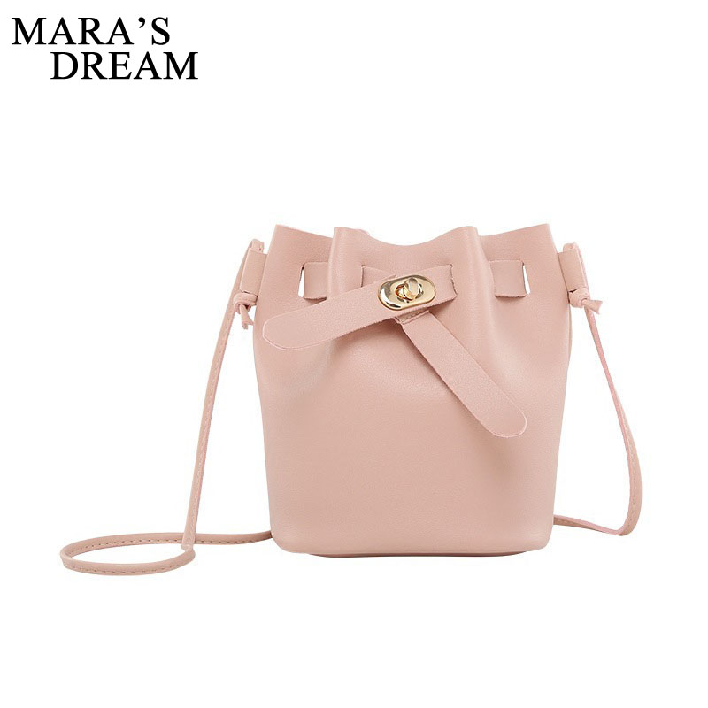 Mara's Dream 2018 Bag Women Small New Bucket PU Leather Shoulder Bag Candy Color Mini Handbags Hasp Bags Crossbody Bags Handbags pumping bucket bag rivet handbags mini bucket bag