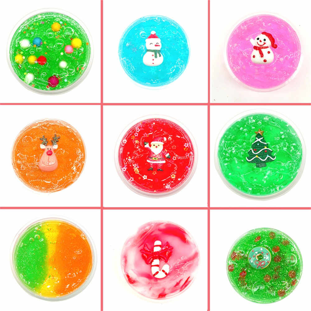 DIY Clear Slime Toys Christmas Fluffy Floam Slime Soft Mixing Tricky Putty Scented Stress Relief Toy Sludge Toy Dropshipping