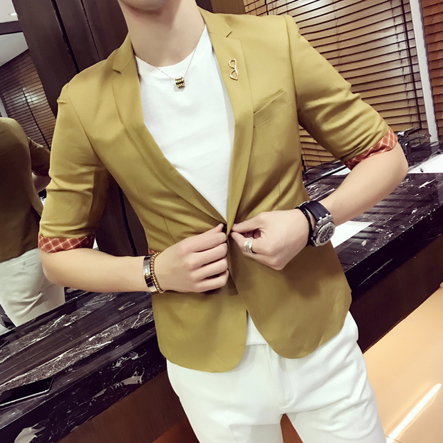 Summer men's casual thin section sleeve suit trend Korean youth five-point sleeve suit men's short sleeve suit jacket
