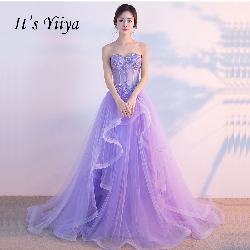 It's Yiiya Purple Backless Strapless Sweetheart Lace Up Bling Elegant Evening Dress Floor Length Party Gown Evening Gown LX039