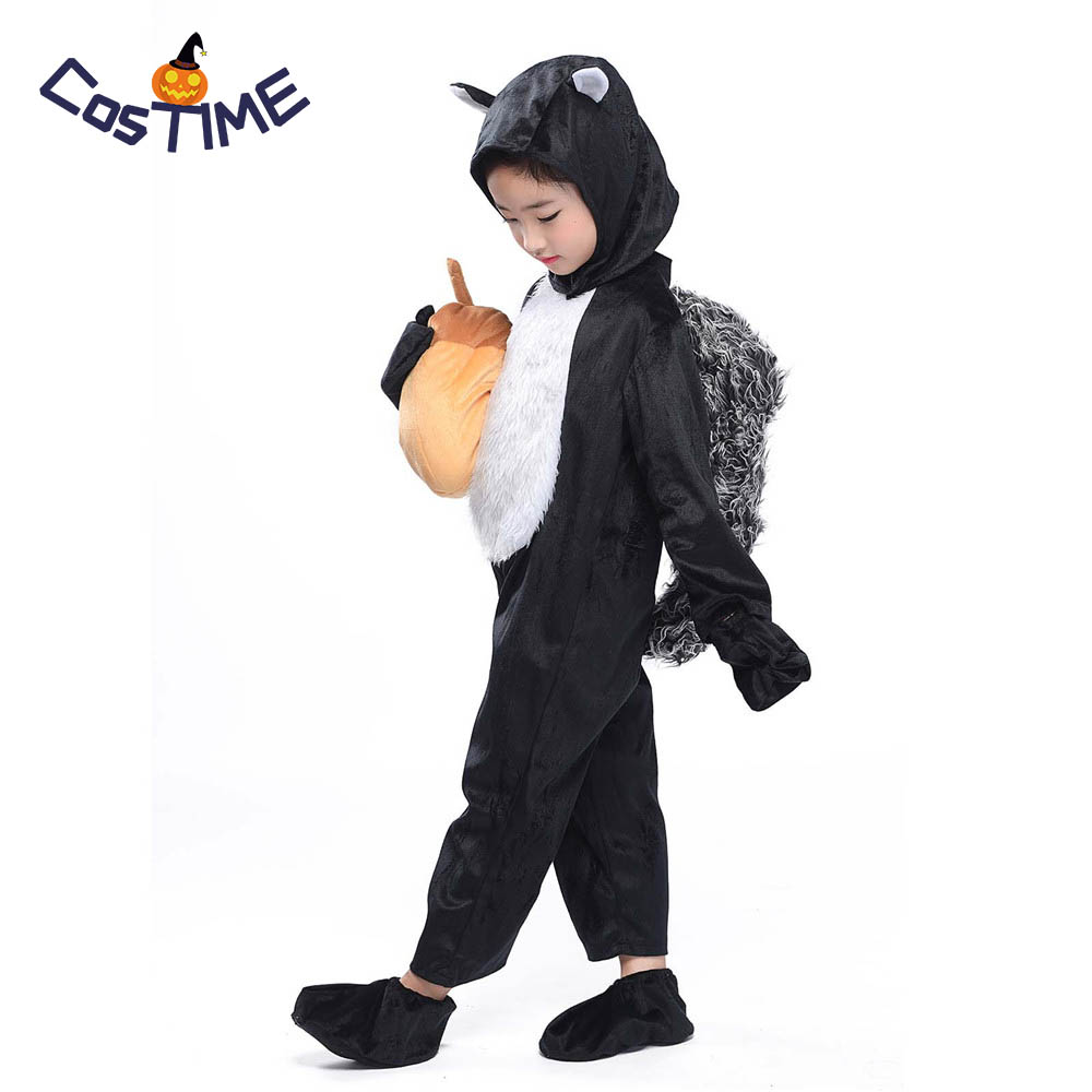 Kids Kitten Costume Black Squirrel Cosplay Animal Onesies Fancy Dress Kitten with Acorn Plush Toy Carnival Halloween Costumes