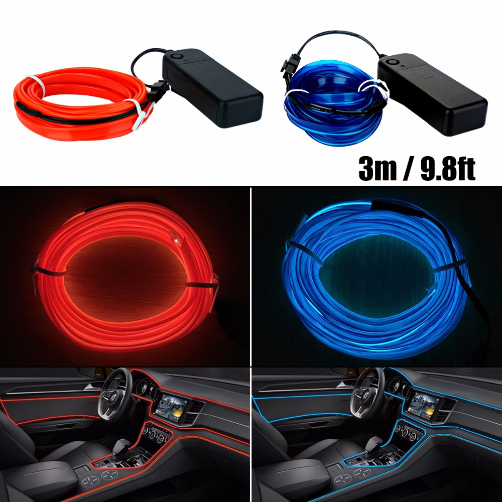 3m EL Car Stickers Neon Light Decor Auto Light Neon LED lamp Flexible EL Wire Rope Tube Waterproof LED Strip With Controller best price 4 way in 1 splitter cable for el wire tube neon strip light conected with inverter black