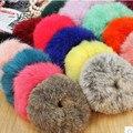 1 unid piel de conejo auténtica del pelo accesorio flurry pelo de la venda anillos lazos del pelo elásticos para el pelo
