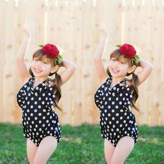 Verão Da Criança Do Bebê Crianças Meninas Bolinhas Romper Bodysuit Babados Infantil Das Meninas Macacão Roupas Roupas Macacão 3M-3Y