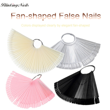 BlinkingNails 50pcs/set Decorated Fake Nails Pink Nail Tips Clear for Nailpolish Fan-shaped Plastic Color Chart in White Tips