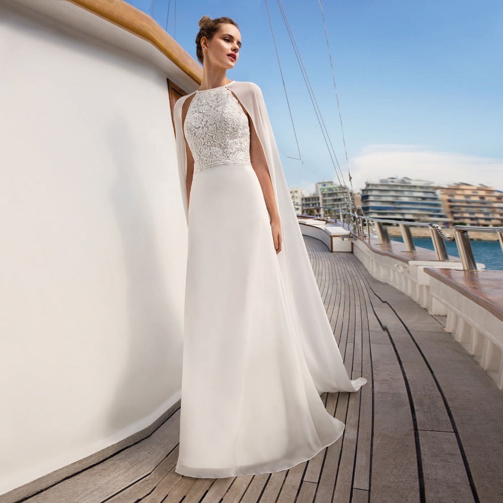 Vestido De Noiva Chic Beach <font><b>Wedding</b></font> <font><b>Dress</b></font> <font><b>2019</b></font> Chiffon Bride <font><b>Dress</b></font> <font><b>Sexy</b></font> <font><b>Boho</b></font> <font><b>Backless</b></font> White/Ivory Appliqued Beaded Bridal Gown image