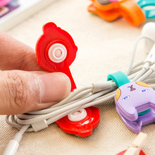 50pcs/lot Wholesale Cute Animals Cable Winder Clip Earphone Earbud Silicone Cord Holder Roma Buckle Type Free ship