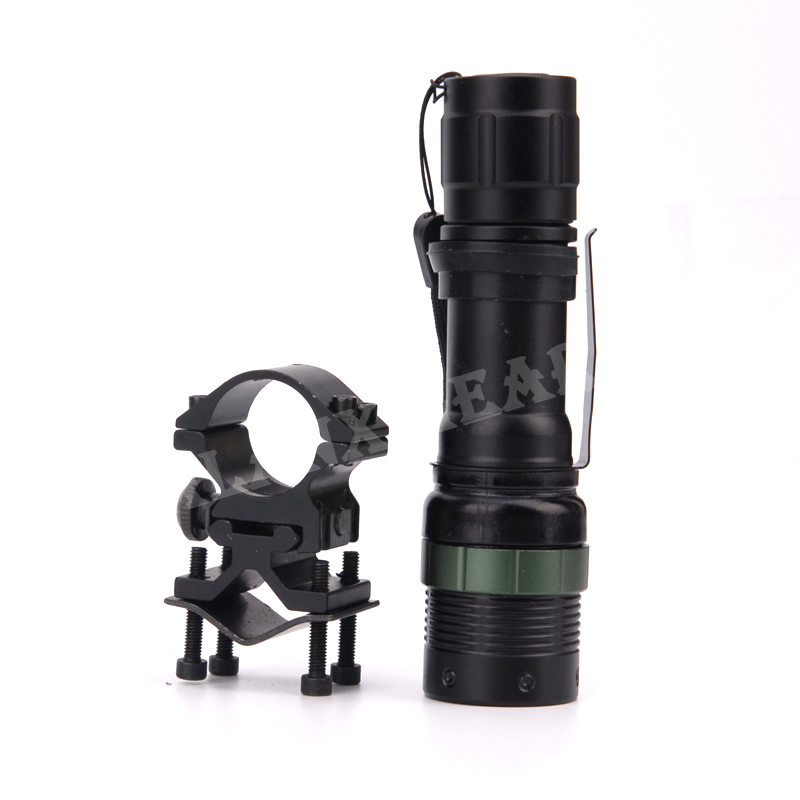 Led-Torch Scope-Mount Rifle-Flashlight Hunting Tactical Compact CREE Q5 Zoom with Barrel