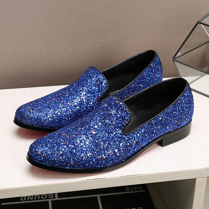 British blue hidden heel shoes for men solid slip-on dress wedding loafers causal velvet slippers glitter genuine leather brogue