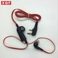 עבור kenwood XQF אופנת צבע אדום באוזנייה אוזניות בסגנון אוזן 2 פיני תקע K עבור Baofeng KENWOOD PUXING wouxun שתי דרך רדיו (1)