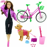 1 6 Toy Accessories Plastic Bike Dog Pet Sets Princess Outfit Clothes For Barbie Doll Dollhouse