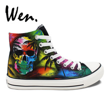 Wen Black Skate Shoes Canvas Multicolored Decoration Skull Coconut Palm Tree Design Custom High Top Unisex Hand Painted Sneakers