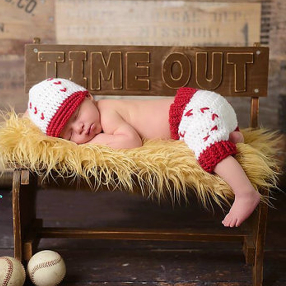 Newborn Baby Girls Boys Baseball Crochet Knit Costume Photography Prop 0-4M cute newborn baby girls boys crochet knit costume photo photography prop outfit one size baby bodysuit hat 2pcs