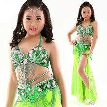 8 färger scenföreställning orientaliska mage danskläder barn mage dans kostym för tjejer 3-bitars kostym bh, bälte, kjol