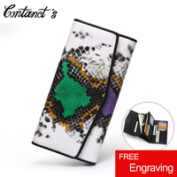 Women Wallet 2017 New Genuine Leather Snake Embossed Clutch Bag Luxury Brand Color Block Mixed Cellphone