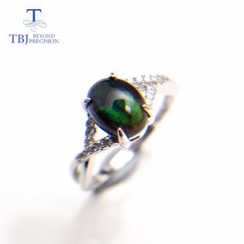 4655d4f13758 TBJ... ópalo negro anillo de piedras preciosas naturales oval 6 8mm 925 plata  esterlina estilo simple joyería fina para boda y regalo de compromiso