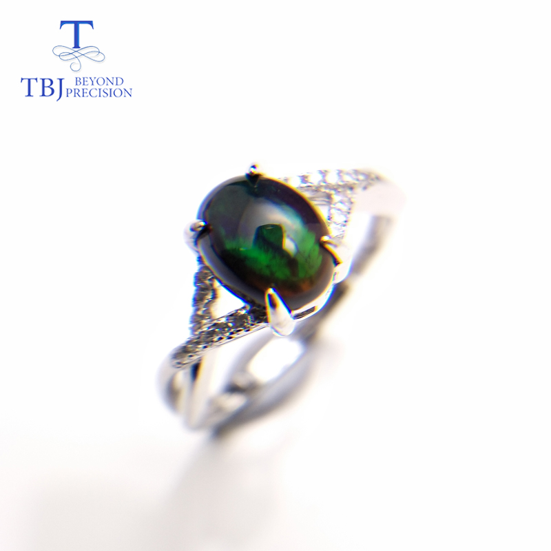 TBJ,black Opal Ring Natural Gemstone Oval 6*8mm 925 Sterling Silver Simple Style Fine Jewelry For Girl Wedding & Engagement Gift