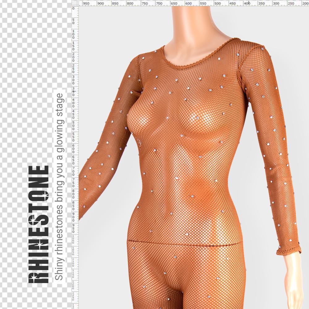Image 5 - Latin Full Body Jumpsuits With Rhinestones Professional Fishnet Ballroom&Latin Dance Hard Yarn Elastic Latin Stockings PantyhoseTights   -