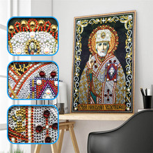 5d Diy Diamond Cross Emblem Religious Leader Icon Crystal Mosaic Special Shaped Embroidery Rhinestone