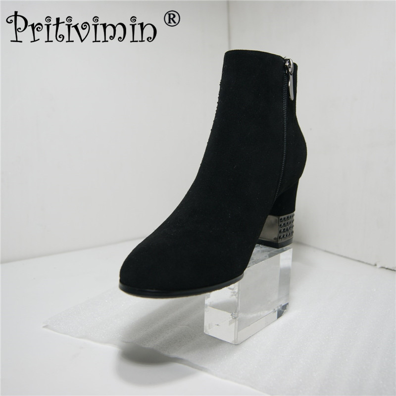 Pritivimin FN211 Sexy Women Boots Sheep Suede Winter High crystal Heels Ankle Boots Shoes Women Fall Ladies grace Short Boots