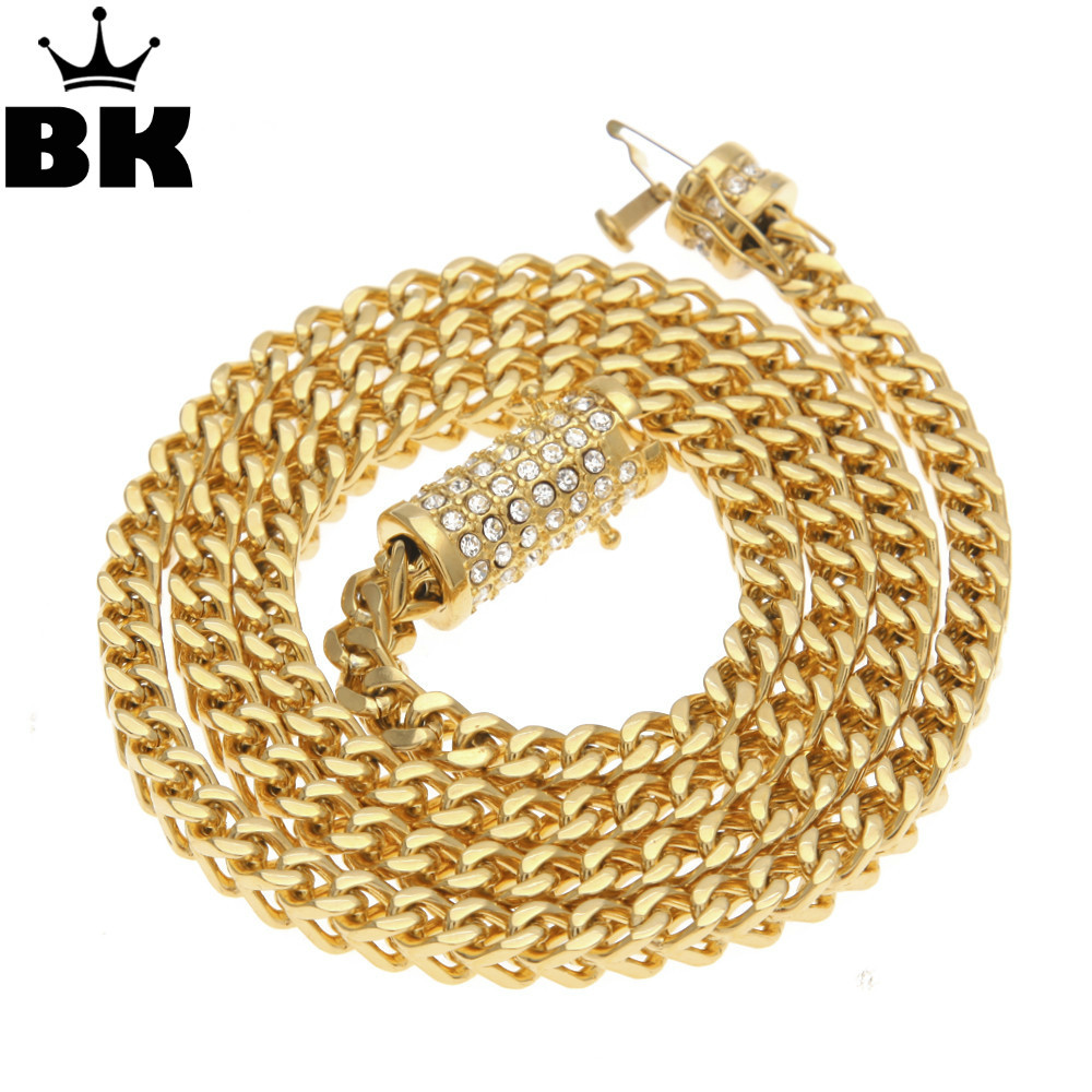 6mm Stainless Steel Wheat Chain Gold Silver Plated 73cm Long Franco Chain Necklace Men's Jewelry Luxury Rhinestone Box Clasp