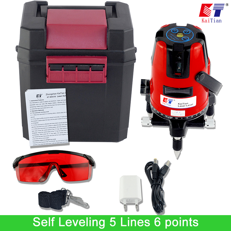 KaiTian Laser Level 5 Lines 6 Points with Slash Function and Outdoor 360 Rotary Self Leveling