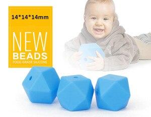 Image 4 - 1000 adet/grup BPA ücretsiz 14mm gevşek silikon altıgen boncuk bebek emzik diş kaşıyıcı kolye bebek kukla çiğneme diş çıkarma takı