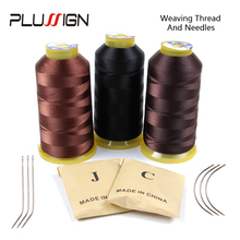 Buy hair extensions thread and get free shipping on aliexpress plussign hair extension 3 rolls weaving thread brown black 1500 meters with 24pcs cj pmusecretfo Gallery