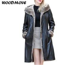 Fashion Women Warm Winter Real Sheepskin Thick Coat Long Sleeve Hoodie Winter Coat Women Warm Genuine Leather Jackets 3XL