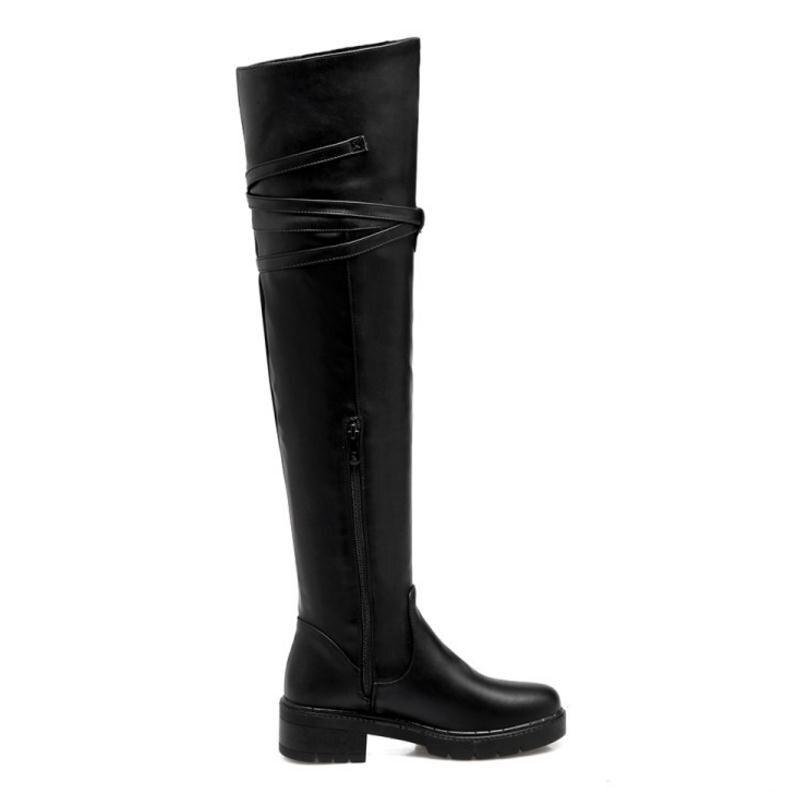 Femmes Épais De En Côté Fourrure Coolcept Peluche Chaud Taille black 2 Sur Chaussures 1 32 Le D'hiver Longues Bottes Botas Neige Black Med Dames Zip 44 Genou Talons qq7IwX