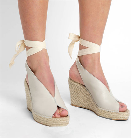BEIGE Suede Leather Women Sandals Wedges High Heels Peep Toe Pumps Lace Up Platform Shoes