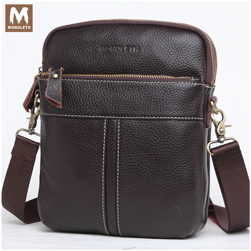 MONOLETH Genuine Leather Gift Men Bag Famous Design Brand For Men Shoulder Travel Messenger Bags Free Shipping Ipad Carrier 5002 free shipping 2015 brand desigenr leather male messenger bag stylish shoulder bags student sport bag items sb97