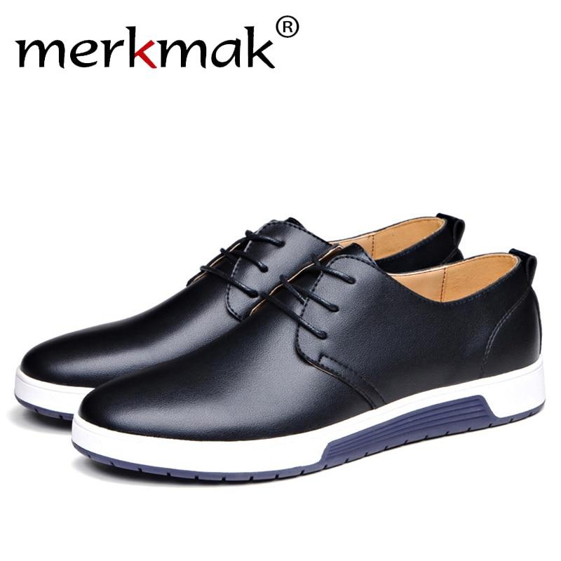 Merkmak Venta caliente hombres zapatos planos Oxfords cuero derramado primavera invierno piel Wam transpirable hombre Casual exterior zapatos tamaño grande 37-48