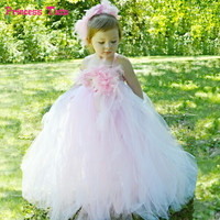 Feathers Flower Girl Tutu Dresses Light Pink White Tulle Baby Girl Wedding Party Dress 1 14Y Kids Girls Princess Ball Gown Dress